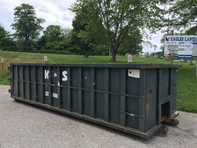 This large dumpster was dropped off in preparation for full-scale demolition beginning Monday.
