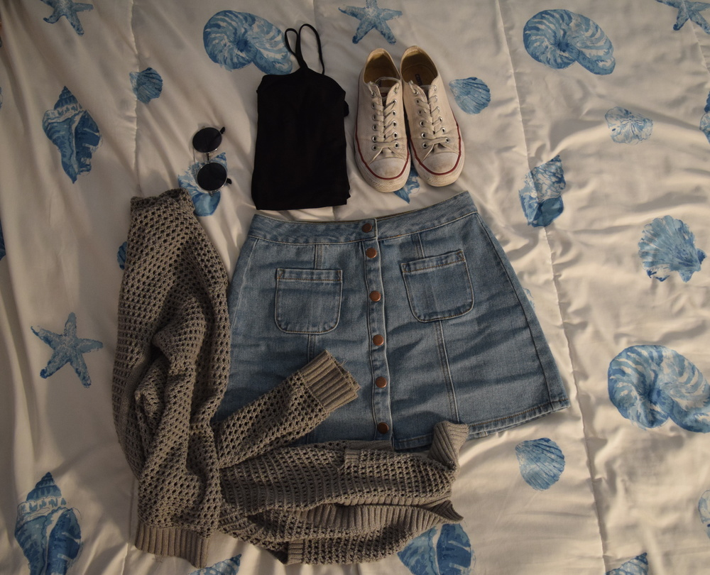 Skirt  (different color). Tank top (basic, sold anywhere!). Sweater (no longer being sold at  The Gap ).  Sneakers .  Sunglasses  (similar).