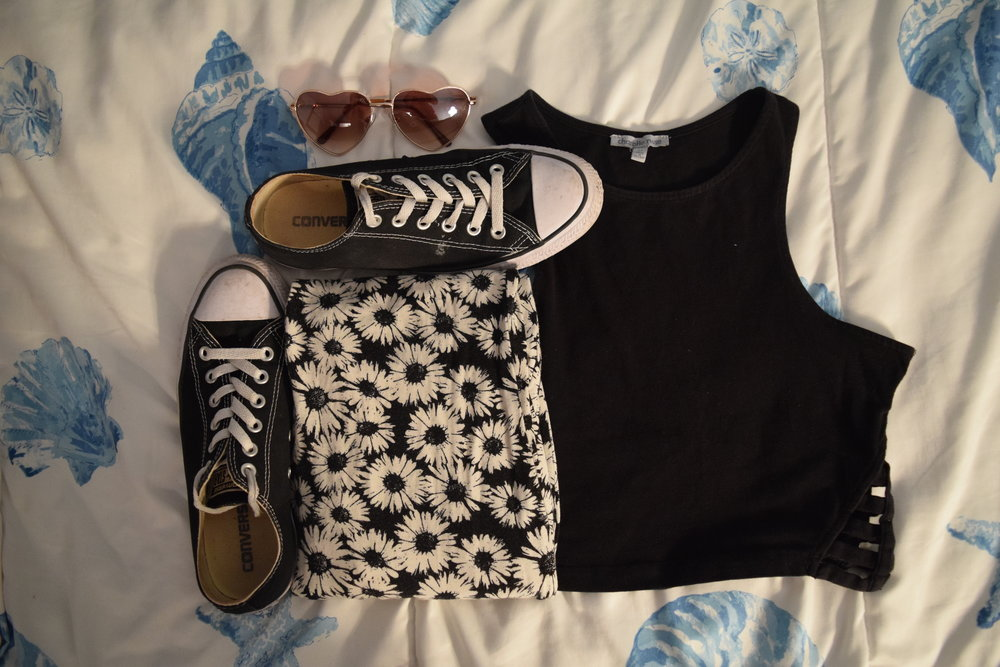 Shirt  (similar). Pants (no longer being sold at  Forever 21 ).  Sneakers .  Sunglasses .