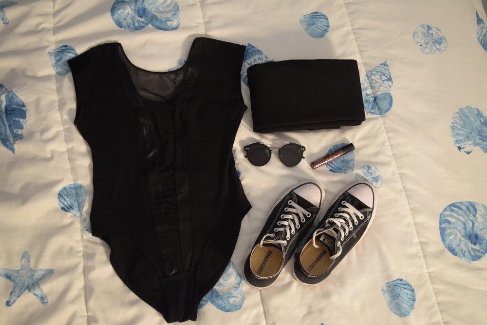 Bodysuit (no clue I'm sorry).  Leggings .  Converse .  Sunglasses .  Lipgloss .