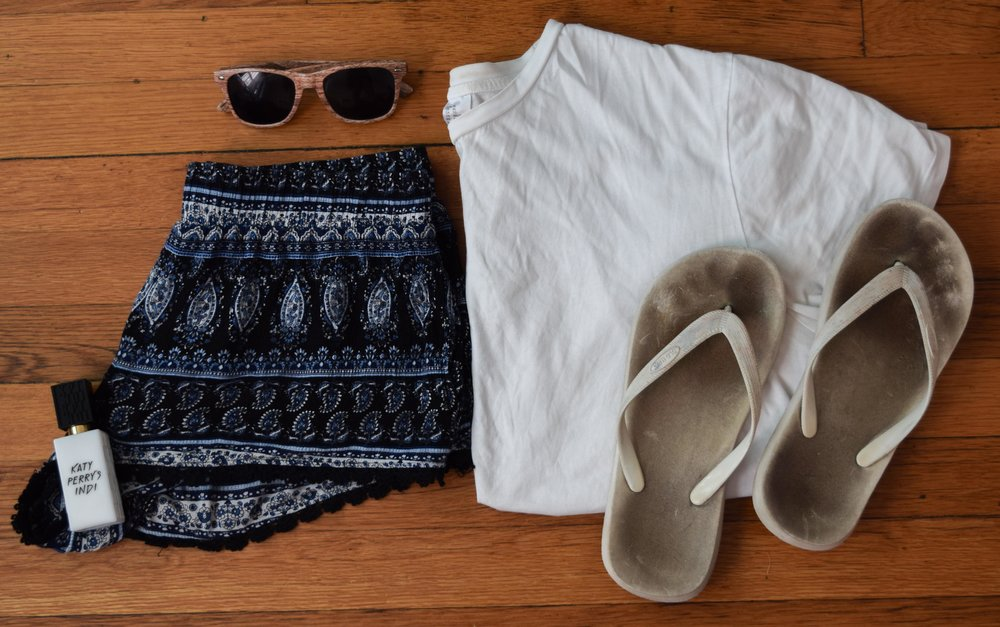 shirt .  shorts  (similar).  flip-flops .  perfume   .  sunglasses  (mine are lighter!)