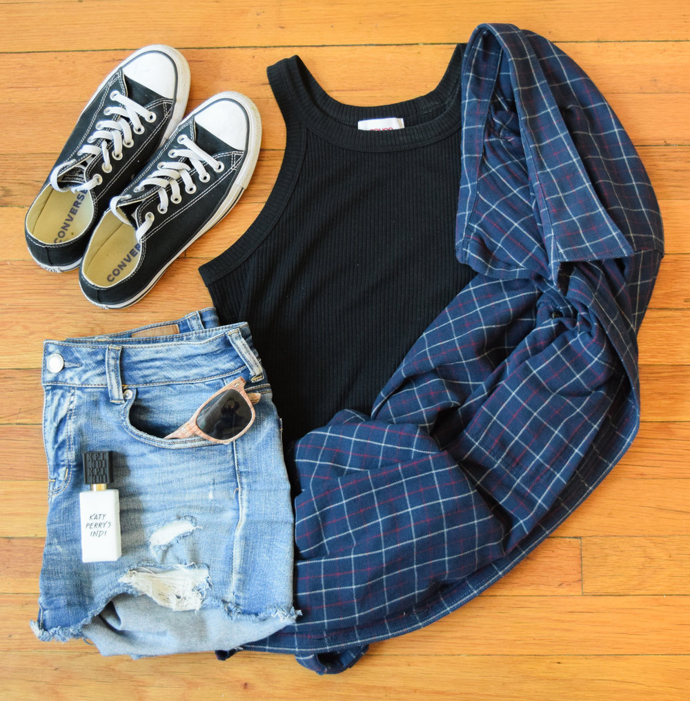 flannel (no clue, sorry!).  tank .  shorts .  sneakers .  sunglasses  (mine are lighter!).  perfume .