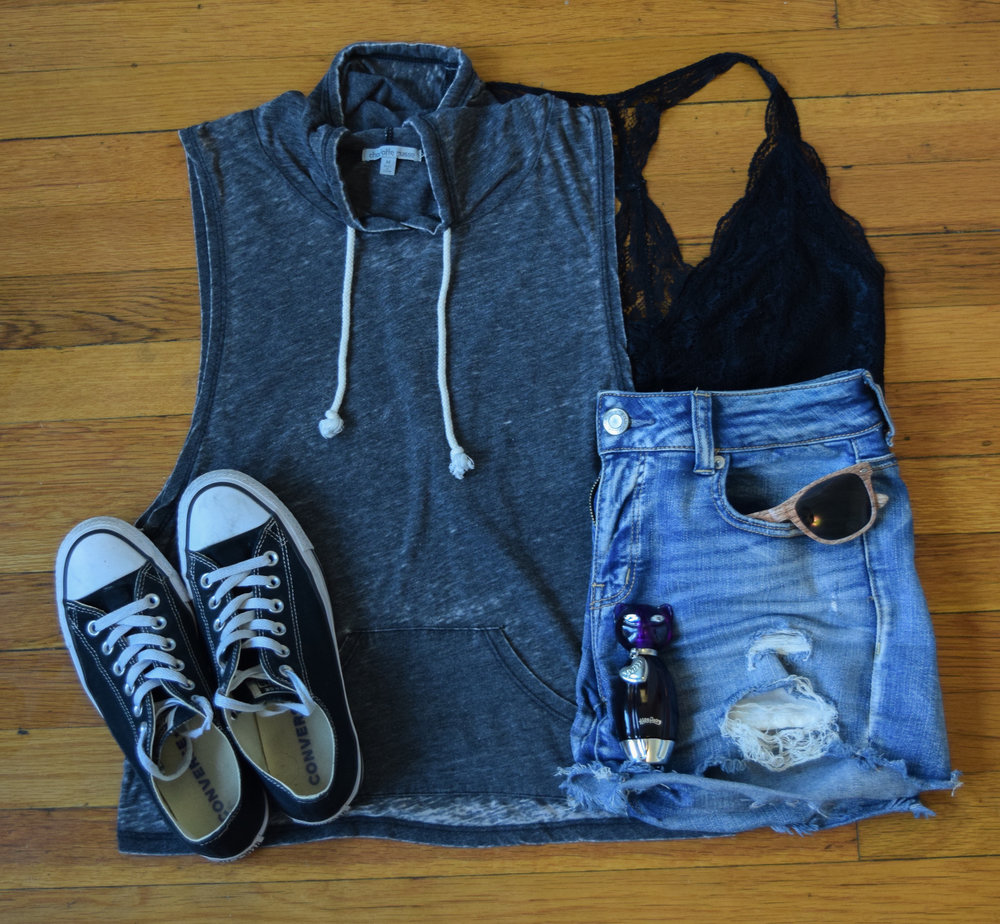 top (no longer being sold by  Charlotte Russe ).  bralette .  shorts .  sneakers .  sunglasses  (mine are lighter!).  perfume .