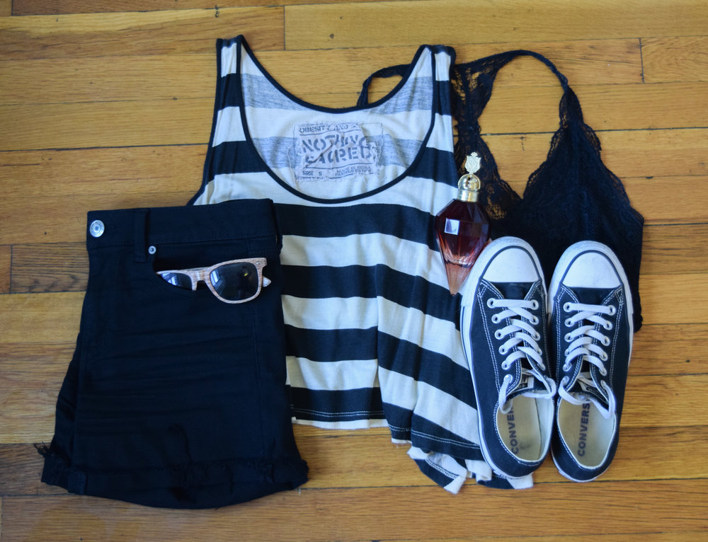 top (by  Nothing Sacred ).  bralette .  shorts .  sneakers .  perfume .  sunglasses  (mine are lighter).
