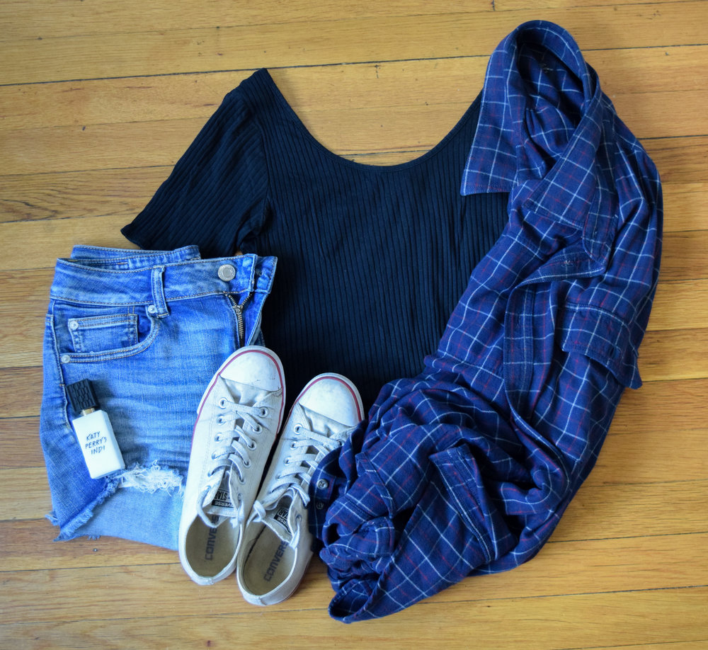 flannel (no clue, i'm sorry!).  shorts .  bodysuit .  sneakers .  perfume .