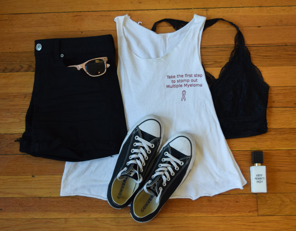 tank ( gamma  exclusive, sorry babes! but please consider making a donation to the Multiple Myeloma Research Foundation  here ).  shorts .  bralette .  sneakers .  sunglasses  (mine are lighter!).  perfume .