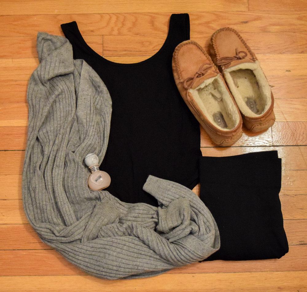leotard .  leggings . sweater (no clue, i'm so sorry).  moccasins .  perfume .