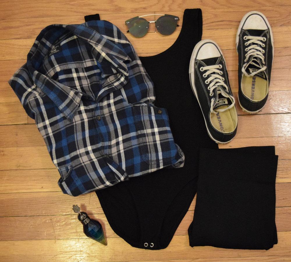flannel (my dad's, sorry!).  leotard .  leggings .  sneakers .  sunglasses .  perfume .