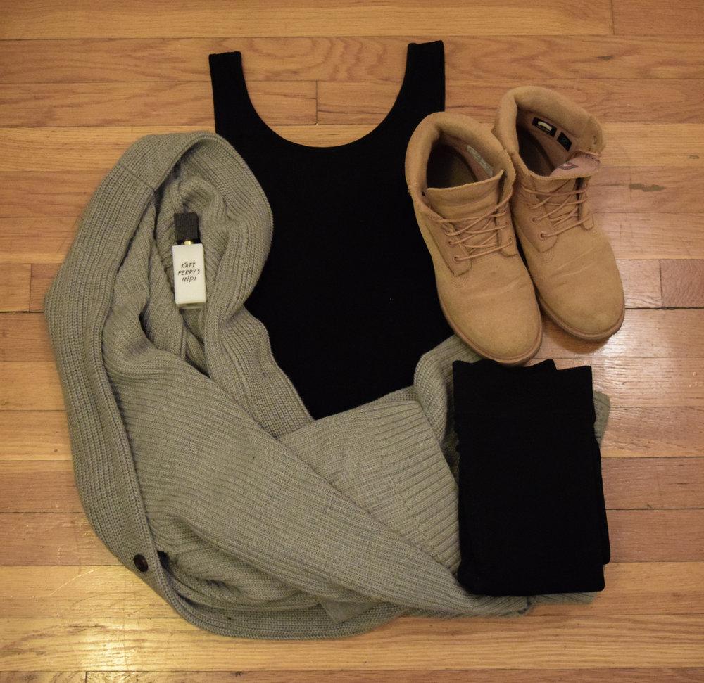 leotard .  leggings .  boots .  sweater .  perfume .