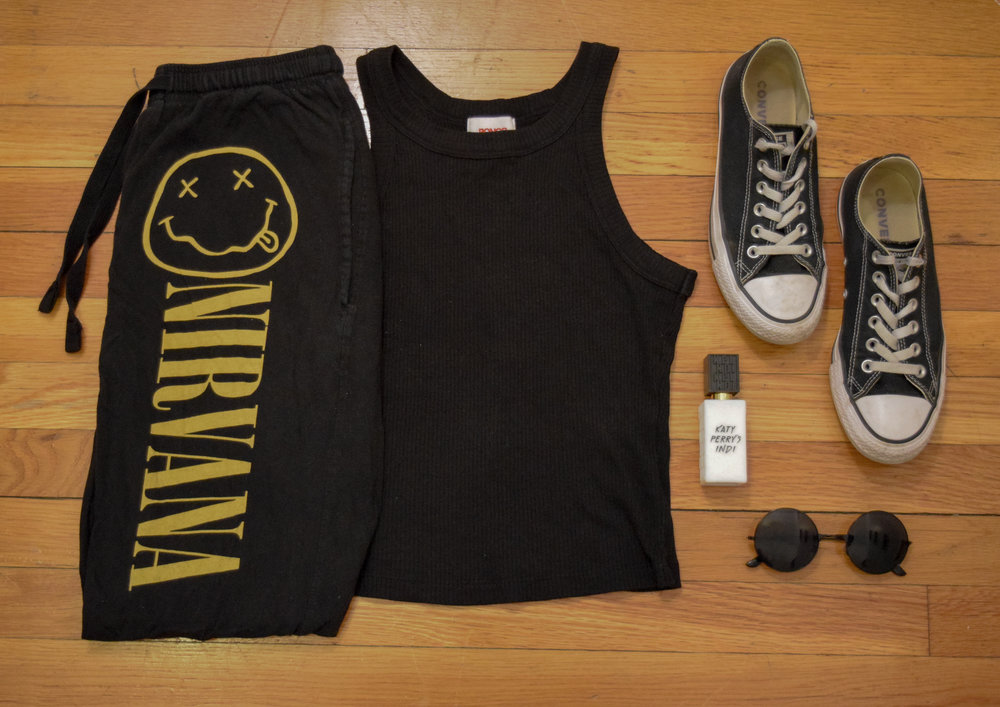 tank  (similar).  pants .  sneakers .  sunglasses  (use my code CLUNKSTER25 for 25% off your order!).  perfume .