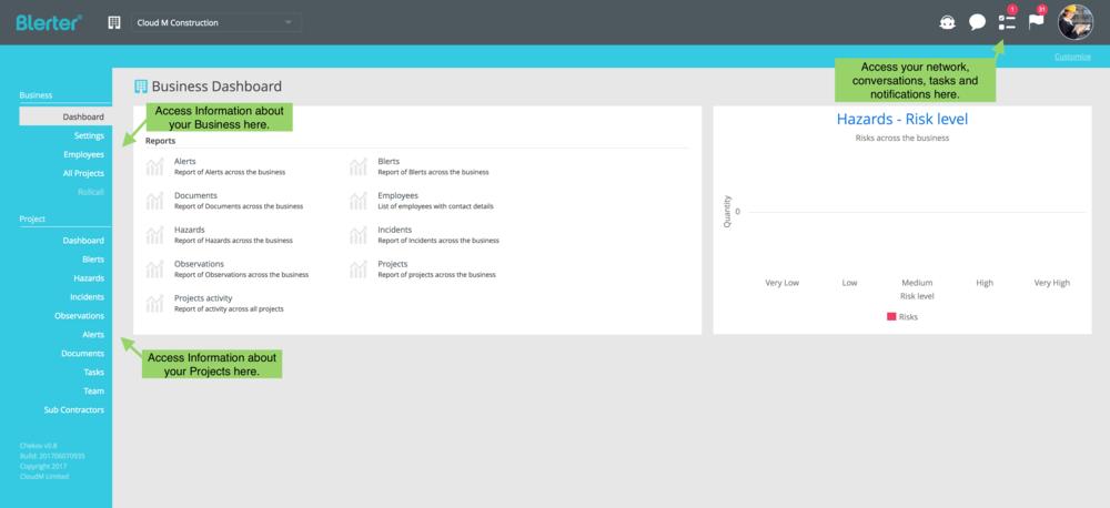 Blerter Desktop Dashboard