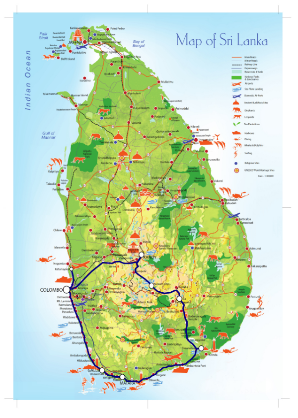 Sri Lanka route map! (click here for enlarged image)