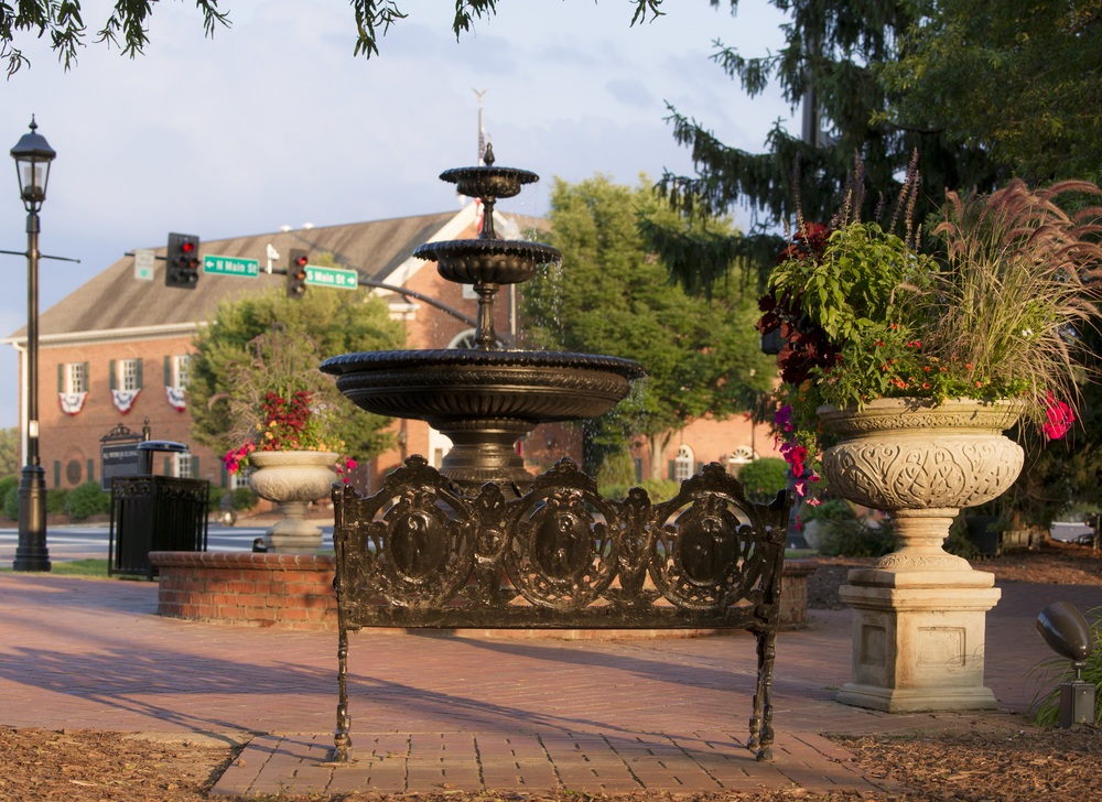 The fountain in downtown Alpharetta, Georgia.