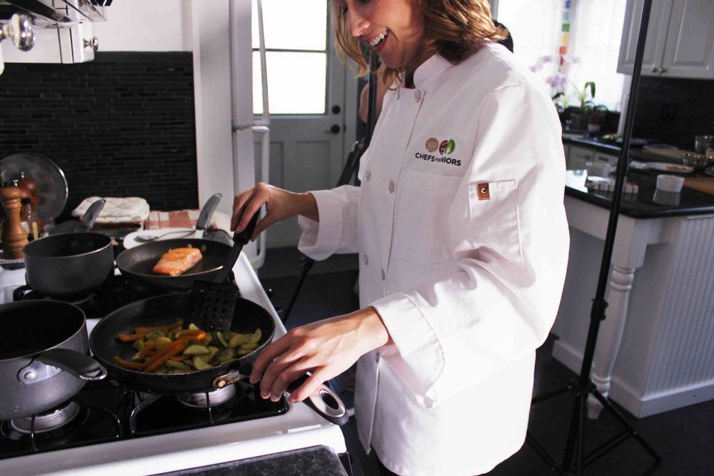 Personal chefs prepare customized meals for clients in their home kitchens.