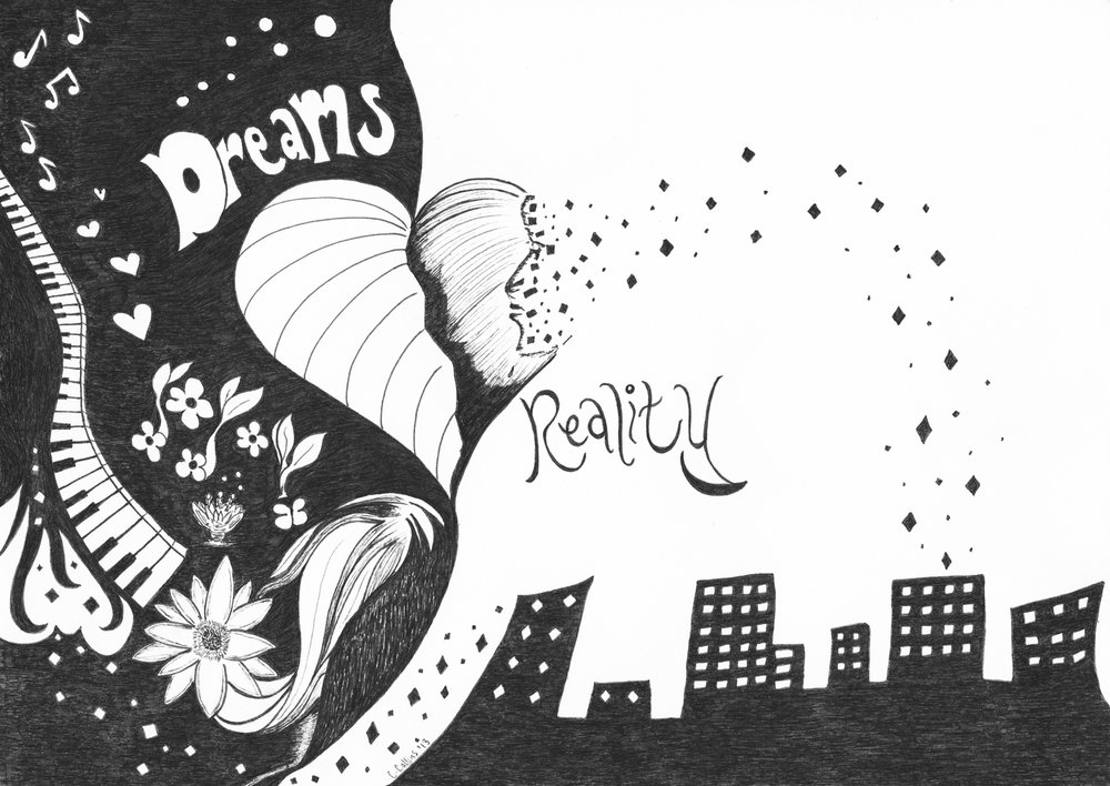 Dreams Reality - Ink Sketch, Prints Available