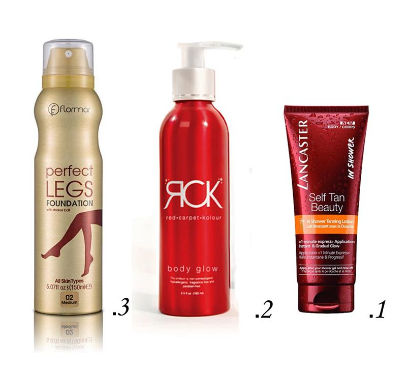 """1.  לנקסטרLancaster self tan beauty IN SHOWER TANNING LOTION מחיר 99 ש""""ח ל200 מ""""ל  2. RCKten לגוף 224 ש""""ח  3 .Legs foundation מחיר 95 ש""""ח"""