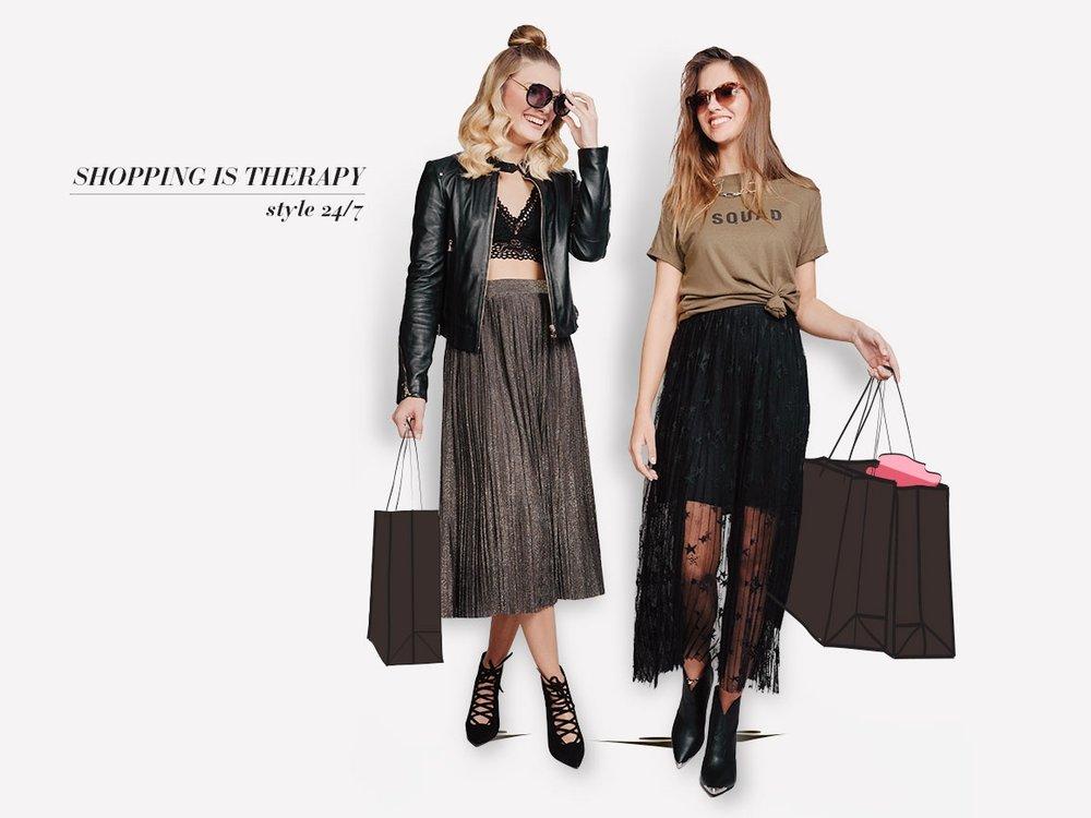 אנסטסיה לובשת: שמלה, טישירט, שרשרת - מנגו, נעליים ומשקפי שמש - צ׳ארלס אנד קית׳  אלכסנדרה לובשת: חצאית, מעיל ונעליים- מנגו, טופ - aerie
