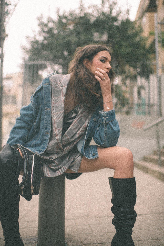 Jean jacket-belle&sue  printed jacket- ice cube  Silver dress - studio pasha  Boots – zara