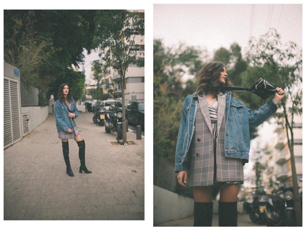 ג׳קט ג׳ינסbelle&sue , ג׳קט משובץ רשתice cube, שמלהstudio pasha, מגפיים ZARA