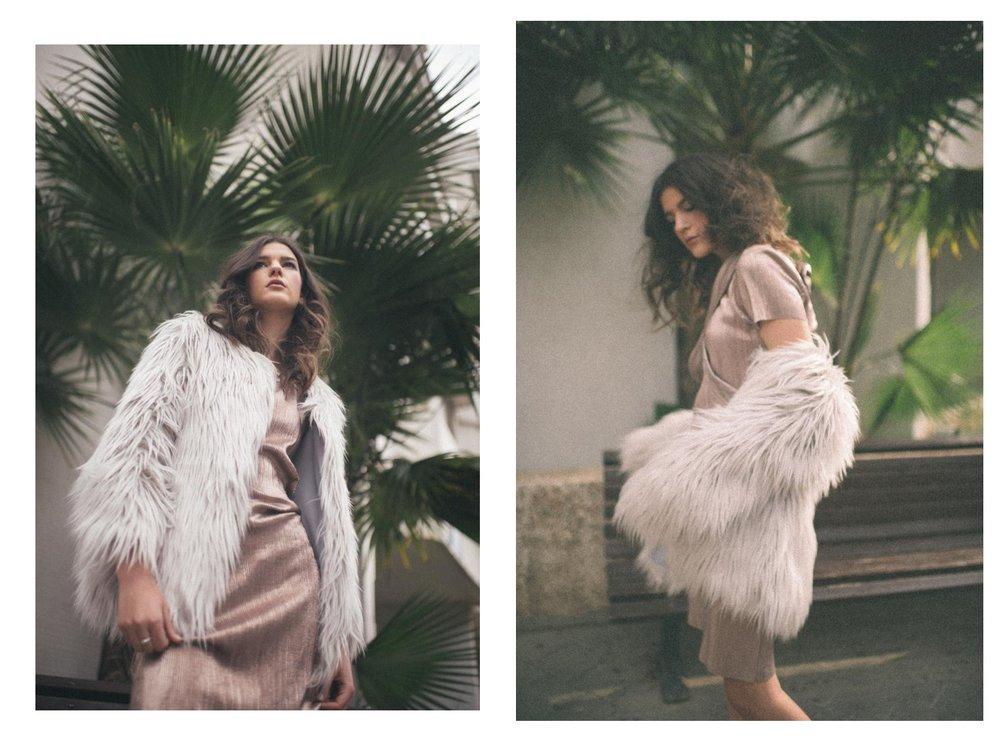 שמלה: חגית טסה, מעיל: אוסף פרטי