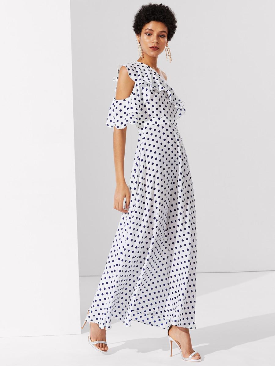 שמלת מקסי מנוקדת שחור-לבן