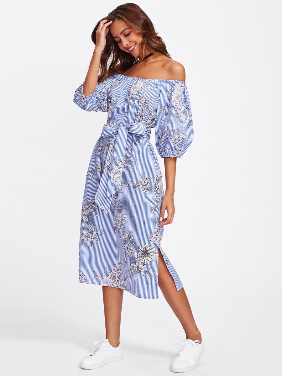שמלת ראפלס כחולה כתפיים חשופות