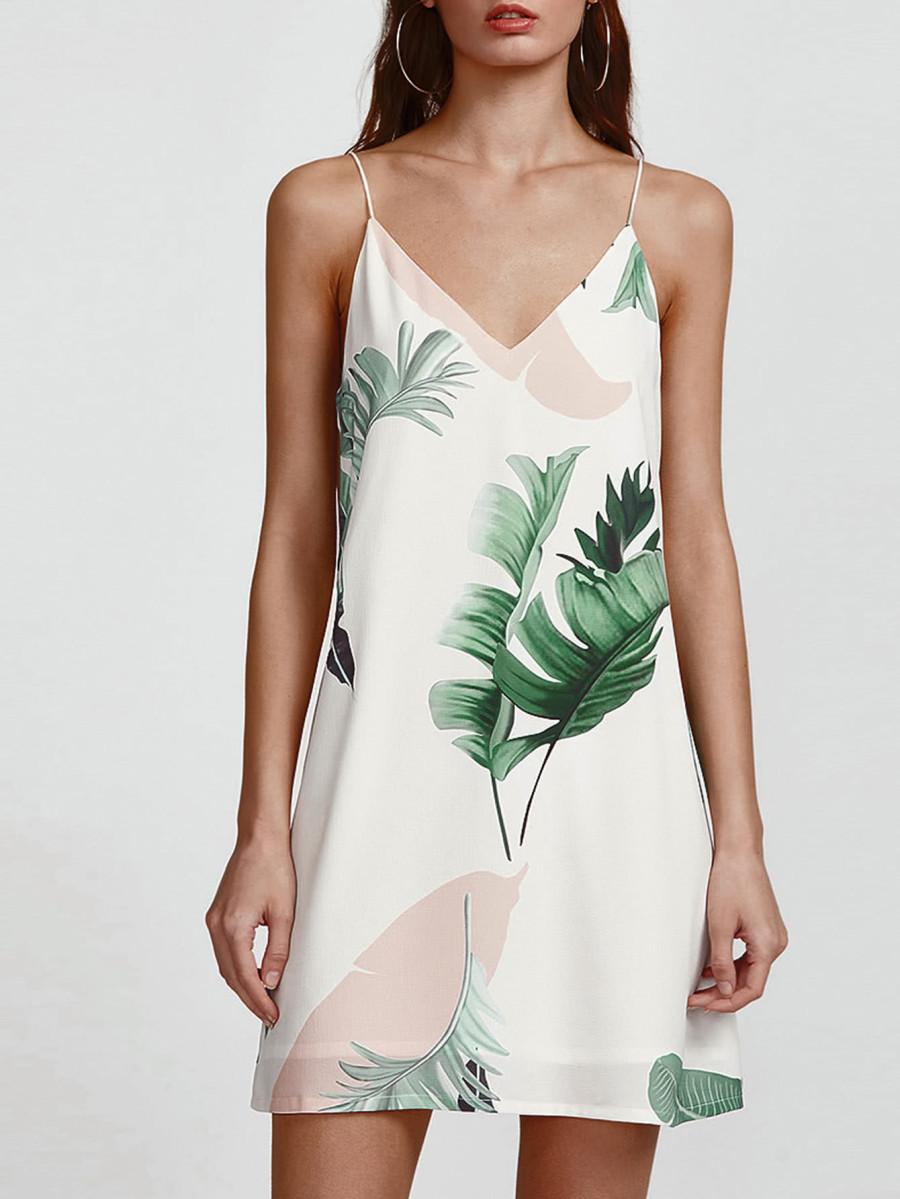 שמלת מיני הדפס - שמלת מיני עם צווארון וי וכתפיות ספגטי דקות.מגיעה ב 4 צבעים והדפסים.מידות: XS-3XLקליק לפרטים