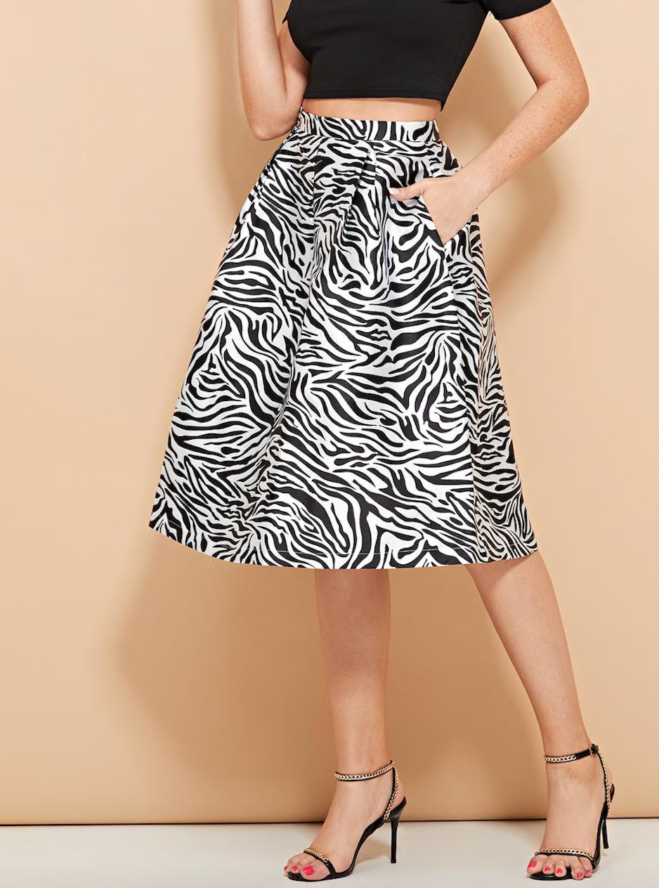 חצאית ״קלוש״ בהדפס זברה