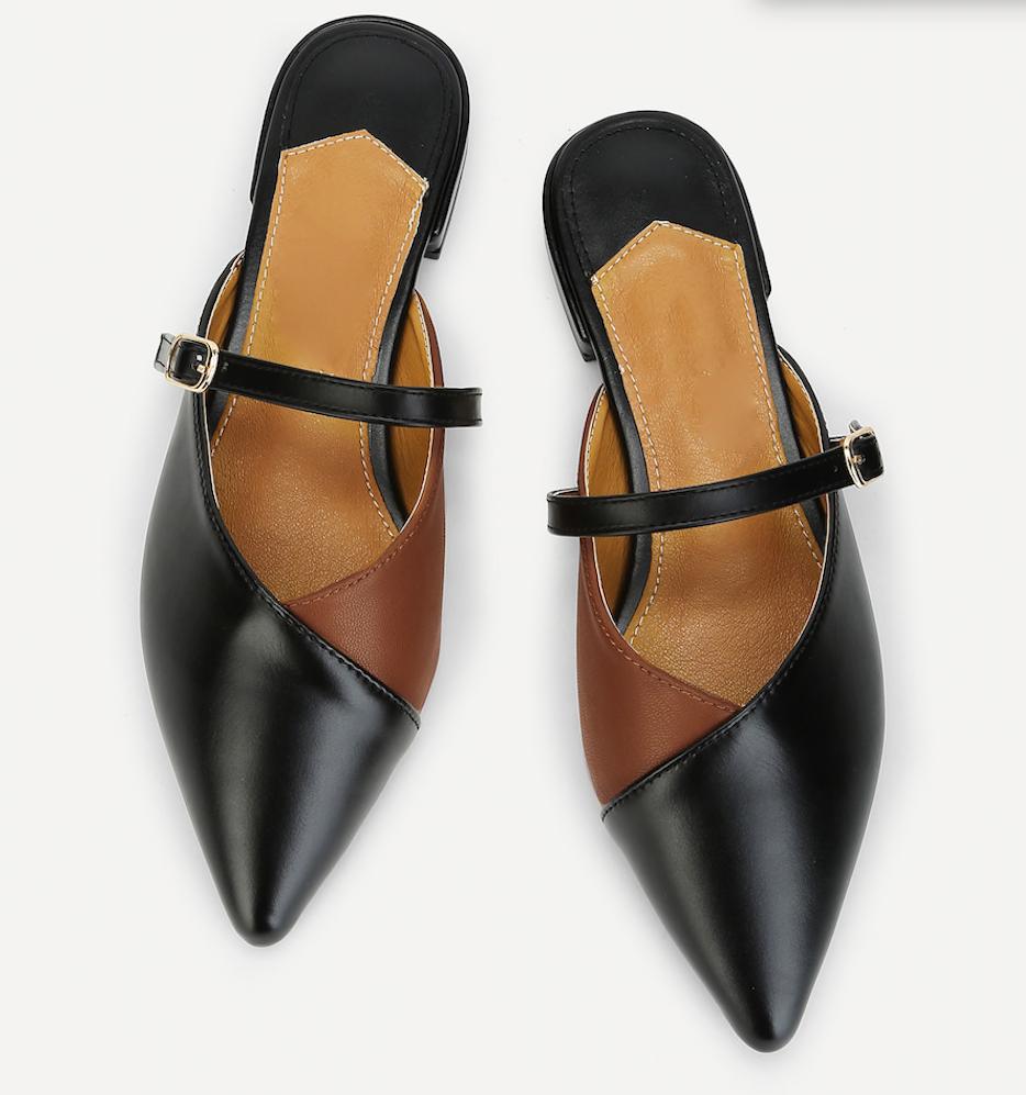 נעלי סירה שטוחות שני גוונים שחור וחום