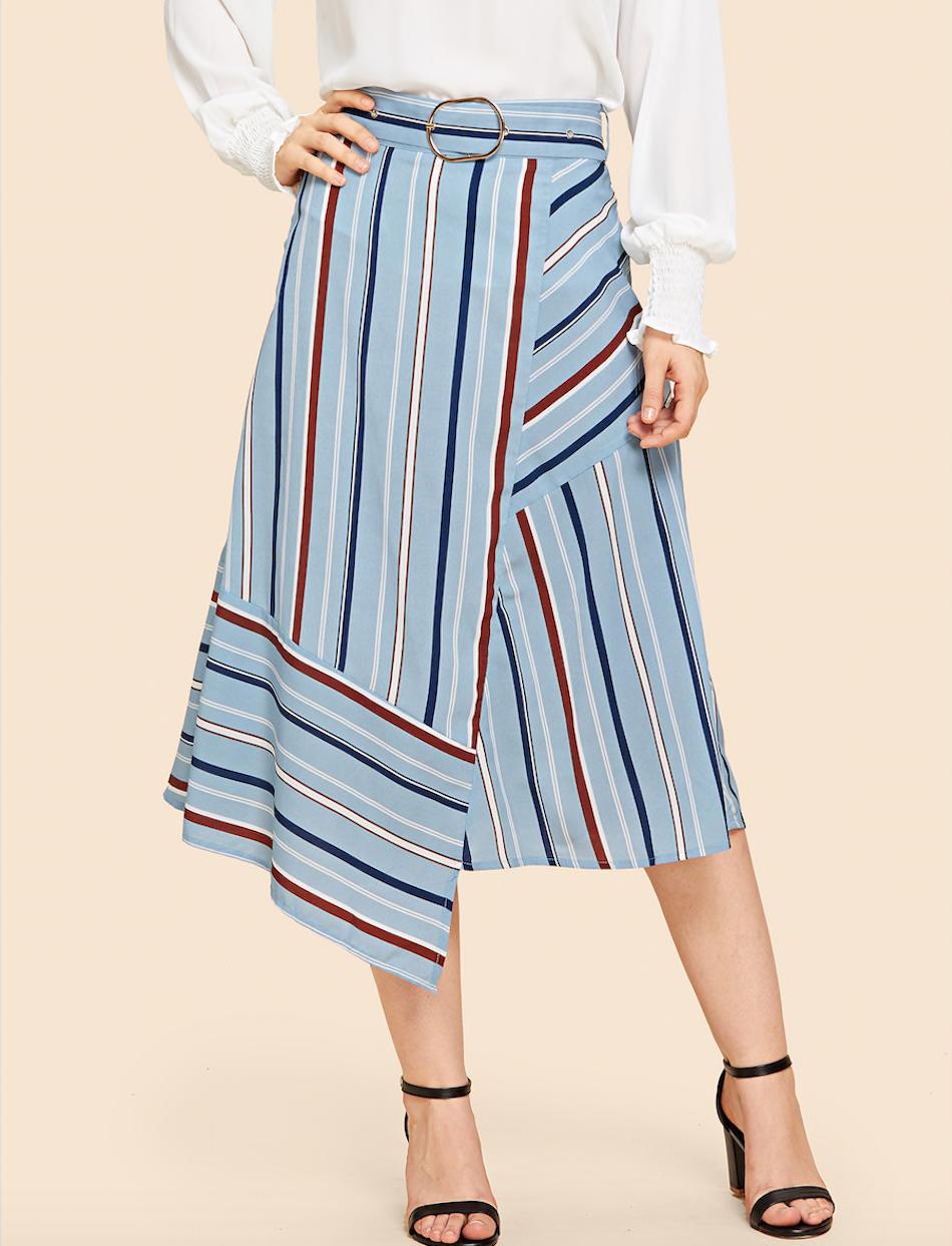 חצאית מעטפה א-סימטרית פסים צבעוניים בסגנון וינטאג׳ עם חגורת מותן