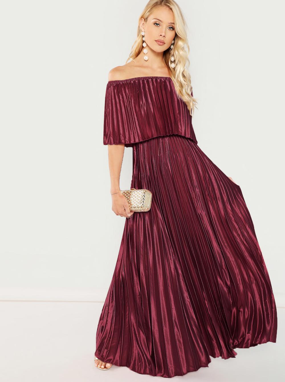 שמלת נשף בגוון בורדו בורגונדי פליסה חגיגית