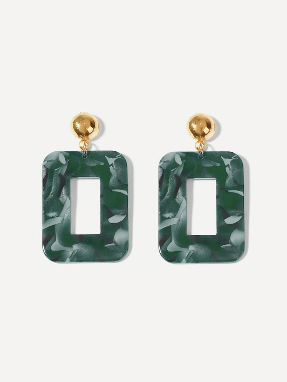 עגילי טרנד בגוון ירוק אבן