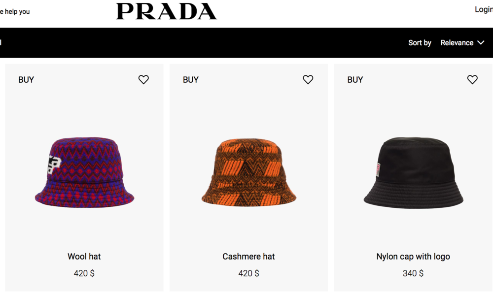 מתוך אתר בית האופנה  PRADA.COM