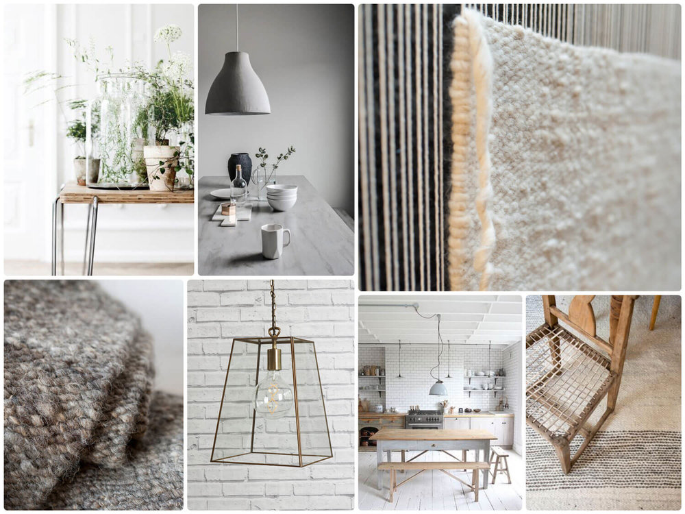 The Natural Home - beautifully thought out and each piece carefully chosen. White karakul rug on loom, South African riempie chair on skip weave border karakul and a gorgeous grey karakul rug all folded up.