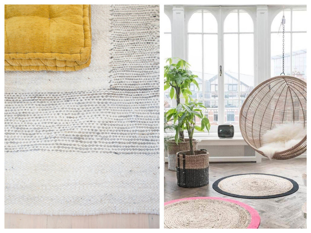Coral & Hive skip weave border white karakul rug & circular jute rugs, similar colours available on order through Coral & Hive.
