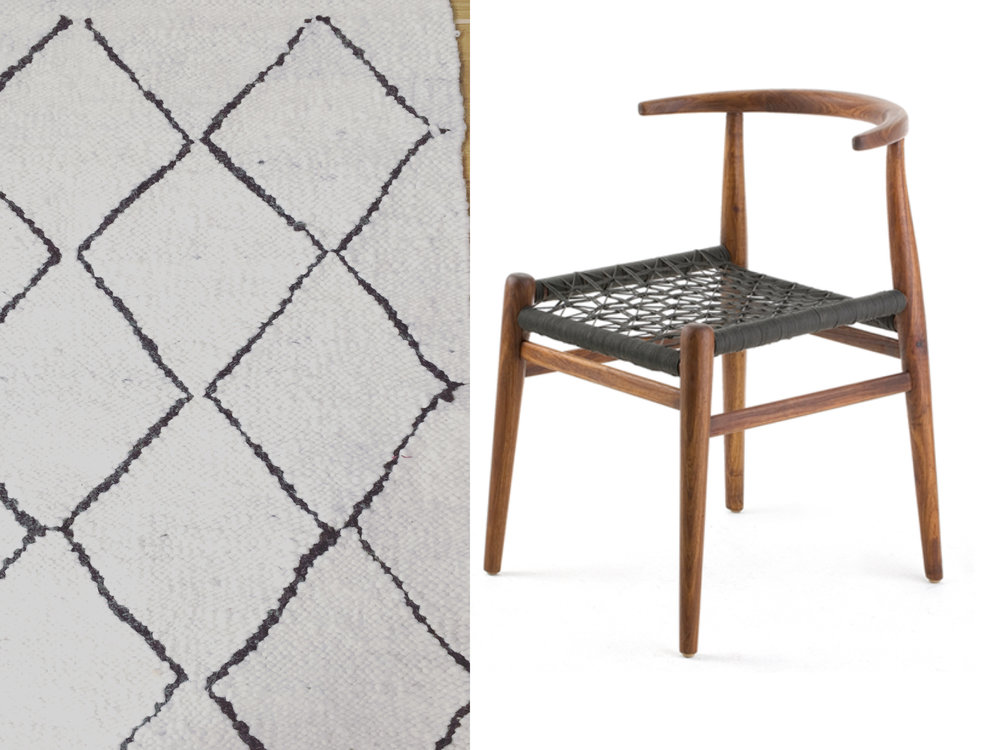 Coral & Hive diamond pattern karakul rug styled with John Vogel Nguni dining chair