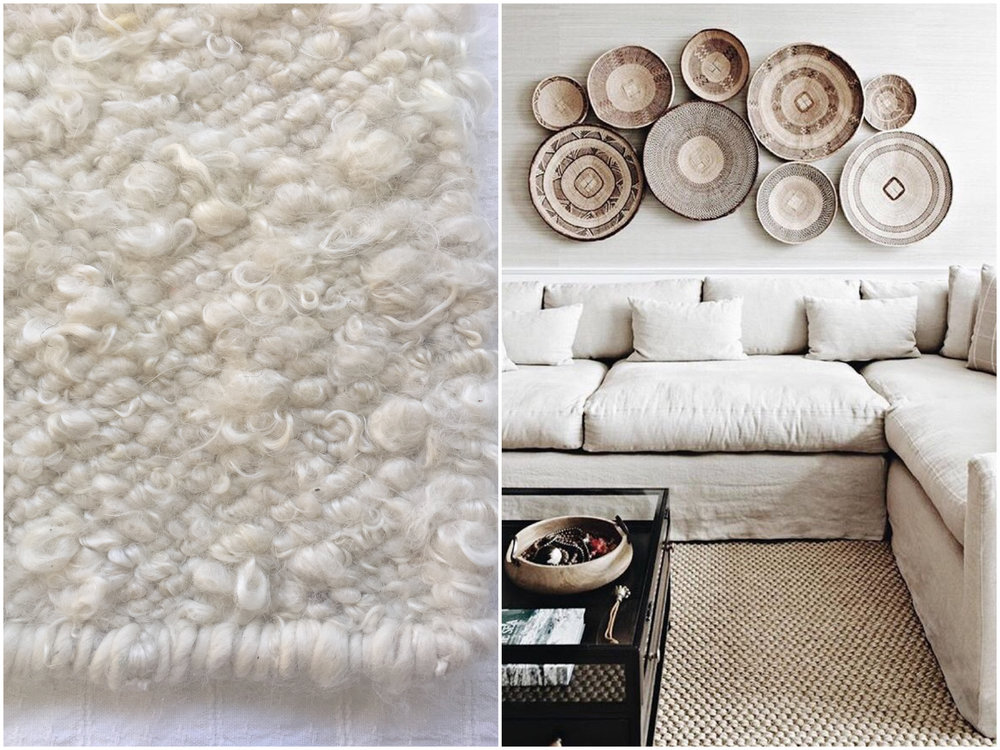 Handwoven Coral & Hive Curly White Mohair Rug + Neutral living room scheme with handwoven wall baskets {Coral & Hive Moods}