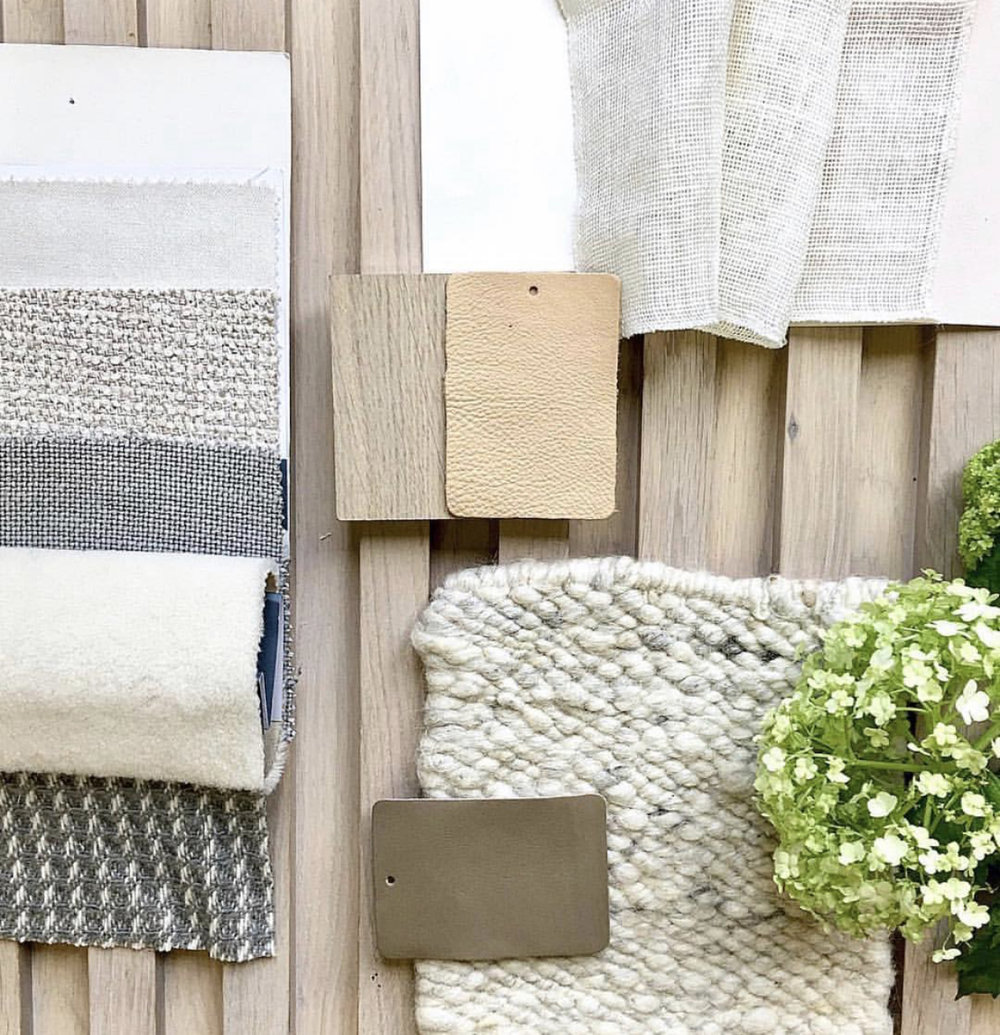 Textured naturals with white karakul wool sample in a mood scheme by designer Louise Holt {Oxfordshire, London}