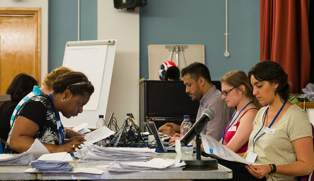 Between 10pm and 2am, data entry volunteers record  ed the results of surveys with about 70 people sleeping rough who were interviewed by volunteers on Monday 11 July.