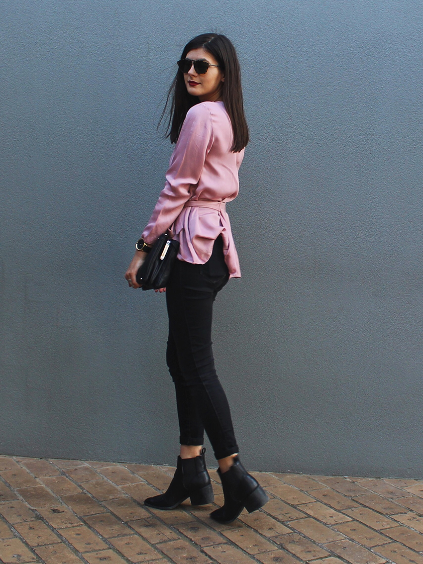 topshop satin blouse, pink blouse, ziggy denim jeans, black jeans, how to style black jeans, how to style a pink blouse, lipstik ankle boots, pointed ankle boots, nine west, celine trio bag, karen walker sunglasses, we who wander co, wewhowander blog, uncle jack watches,ivana, ivana petrovic, we who wander