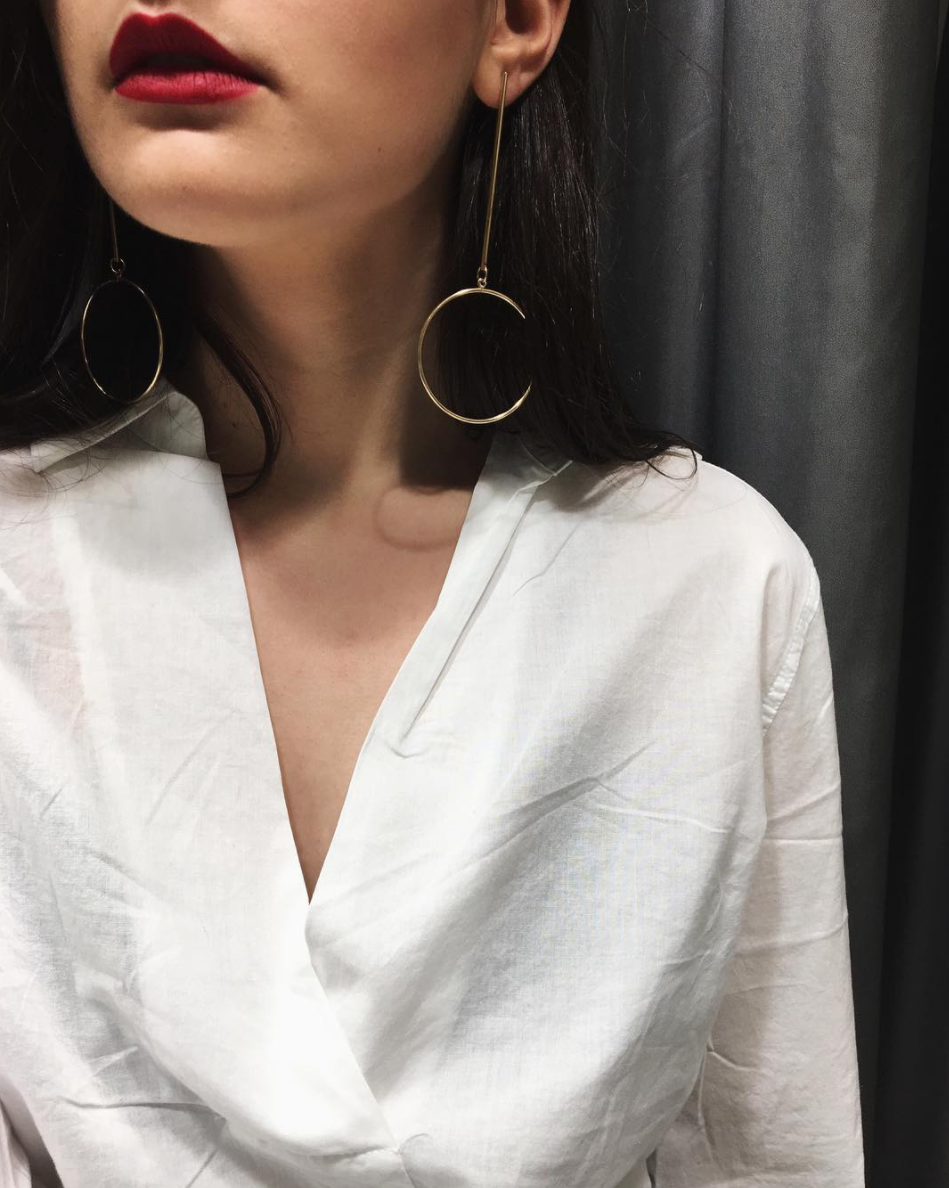 H&M Earrings + Shirt (shop similar below)