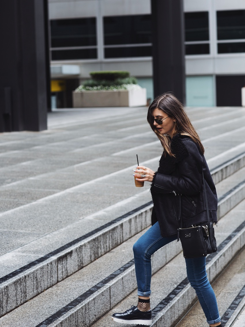 fishnets and jeans, fishnet socks, navy platform brogues, ziggy denim, zara platforms, h&m shearling jacket, faux shearling jacket, we who wander, wewhowander, ivana, ivana petrovic, what to wear in fall, what to wear in winter, winter casual date look, melbourne blog, melbourne fashion blogger, australian fashion bloggers,