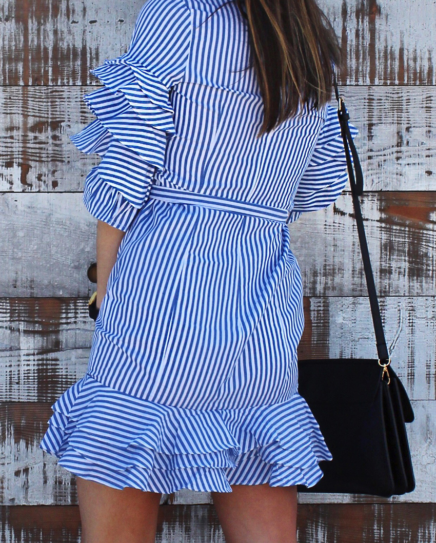 wewhowander, we who wander, ivana petrovic, ivana, melbourne fashion blog, melbourne fashion blogger, ruffles trend, how to wear ruffles, how to wear a ruffle dress, birkenstock outfits, casual date dresses, striped dresses, 2017 summer trends, 2017 spring trends, circle metal sunglasses, shein striped ruffle dress, faux leather chloe faye bag, vegan designer bags,