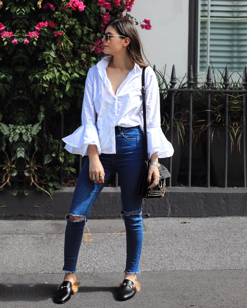 flared sleeves, how to wear flared sleeves, how to improve my style, gucci fur mules, gucci mules dupes, how to diy jeans, how to wear mules, ellery, ellery pre fall 2017, how to tuck your shirt, asymmetric shirt tuck, melbourne blog, melbourne fashion blogger, australian bloggers, ivana, ivana petrovic, we who wander, wewhowander, is style dead, how to have good style, minimal street style melbourne,