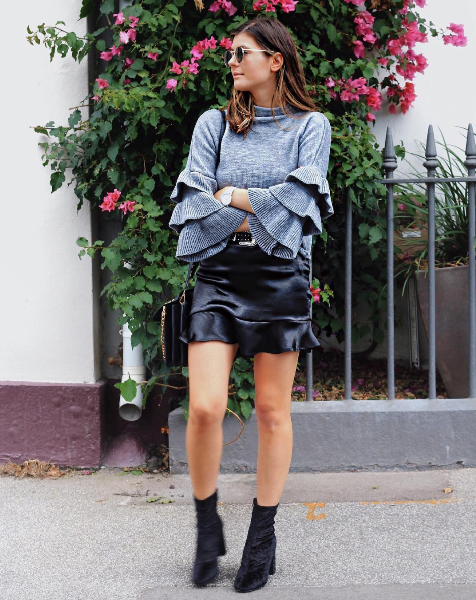 SheIn Ruffle Sleeve sweater Glassons - Satin Fluted skirt Glassons - Crush Velvet boots