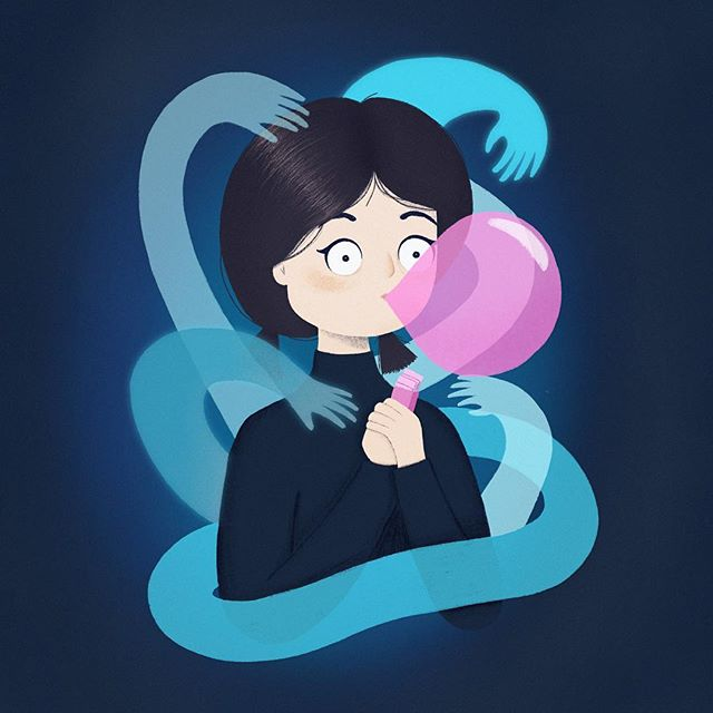 When people realize you have bubblegum... The minute I saw the piece by @joriouxdraws I was immediately inspired. The bubble gum idea came shortly after. Check out #joriouxdrawstyle for a lot of inspiring takes on it.  #drawthisinyourstyle #procreate #kidlitart #characterdesign #illustration
