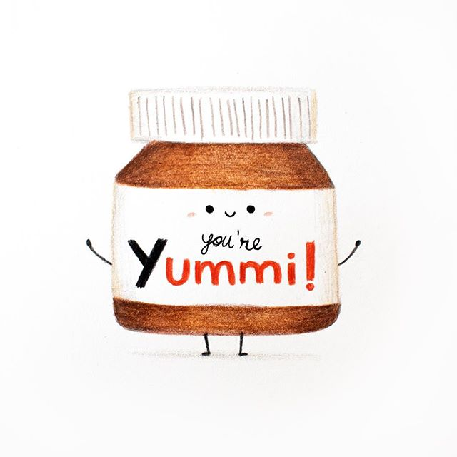 "How I say ""I love you"". I can't help it! Nutella is just too inspiring! And on valentines month? I had to!  #nutella #worldnutelladay #valentines #valentinesday #valentinesdaygifts #kidlitart #kidlit #illustration"