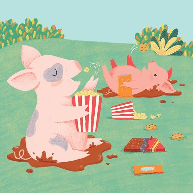 Self portrait of me as a pig. I didn't do a specific illustration to celebrate the year of the pig but here's part of one I did last year that has been published in China! ❤️ #yearofthepig #pig #piglet #pigart #characterdesign #kidlit #kidlitart #childrensbookillustration