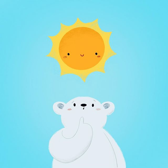 People are so happy with how sunny and warm the weather has been lately. Bear is just confused and scared.  A little something for #polarbearday  #kidlitart #cuteanimals #procreate #illustration #polarbear #globalwarming #globalwarmingisreal
