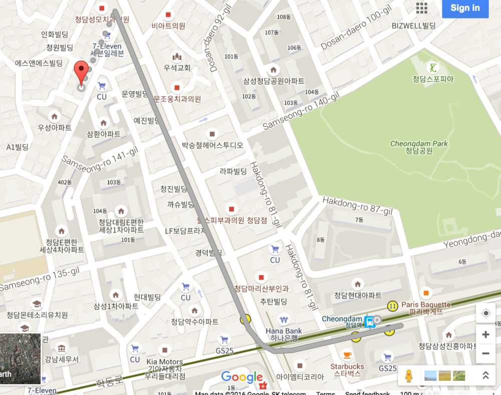 How to get to Eden Plaza from Cheongdam Station courtesy of Google Maps.
